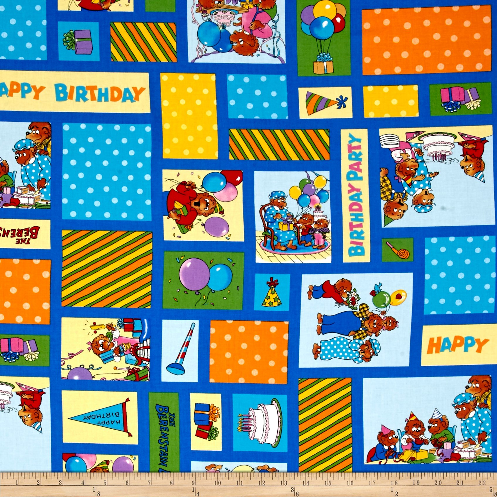 Clearance Sale~Beary Happy Birthday Cotton Fabric by Moda