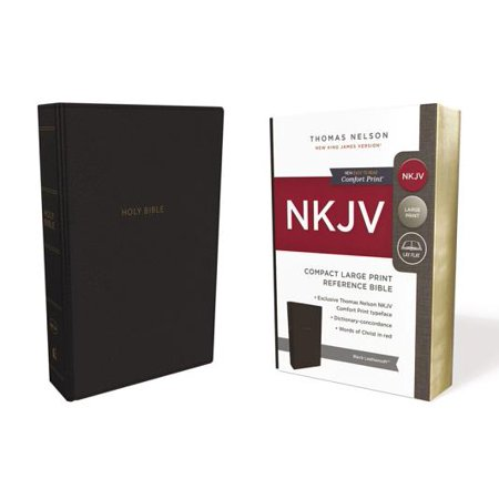 NKJV, Reference Bible, Compact Large Print, Imitation Leather, Black, Red Letter Edition, Comfort Print
