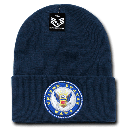 Logo Knit Cap - Rapid Dominance US Navy Logo - Embroidered US Military Beanies Beany For Men Women Cuffed Long Knit Caps Hats