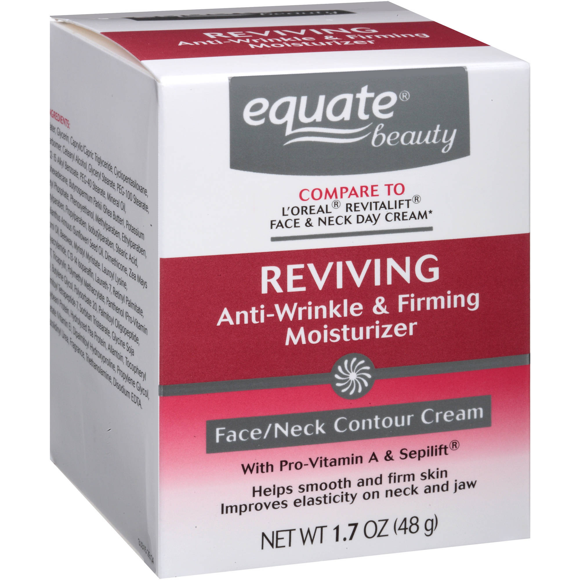 Equate Beauty Reviving Anti-Wrinkle & Firming Moisturizer FAce/Neck Contour Cream, 1.7 oz