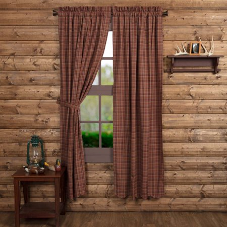 Burgundy Red Rustic & Lodge Curtains Collin Rod Pocket Cotton Tie Back(s) Plaid Panel (Cotton Drapery Panel)