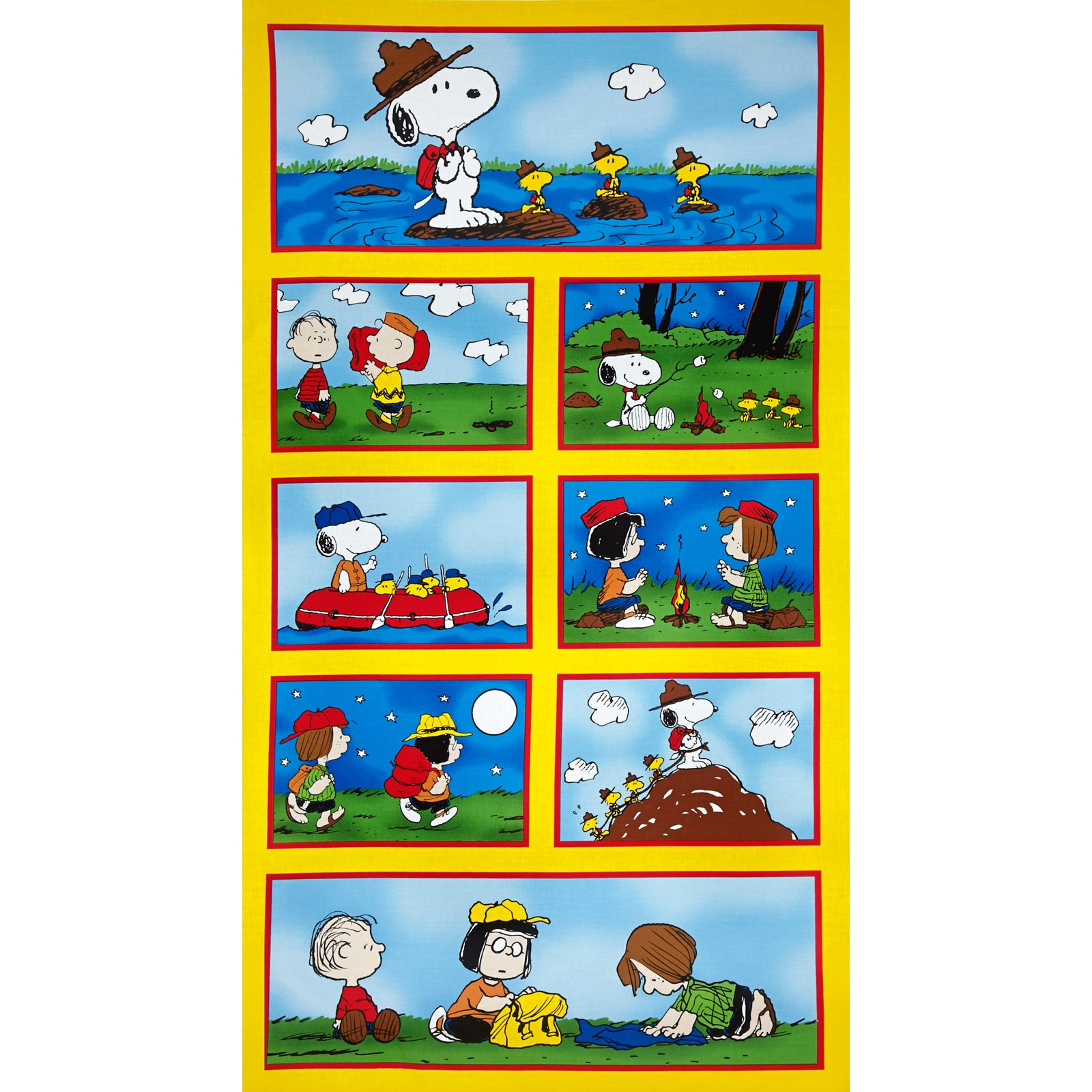 "Camp Peanuts Allover Patches Yellow Fabric By The Panel 24"" x 44"""