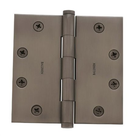 """Baldwin 1045151I Antique Nickel General Hardware 4.5"""" x 4.5"""" x .134"""" Solid Brass Full Mortise Hinge with Square Corners 1045.I"""