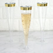 BalsaCircle 12 pcs 6 oz Clear with Gold Rim Plastic Glasses - Disposable Wedding Party Catering Tableware
