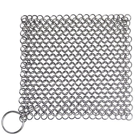 Cast Iron Skillet Cookware Scrubber Effective Durable Premium Stainless Steel Metal Chainmail Pan Pot Clean