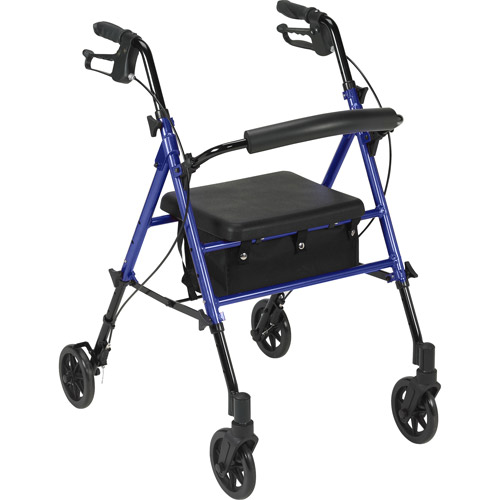 "Drive Medical Adjustable Height Rollator with 6"" Wheels, Blue"