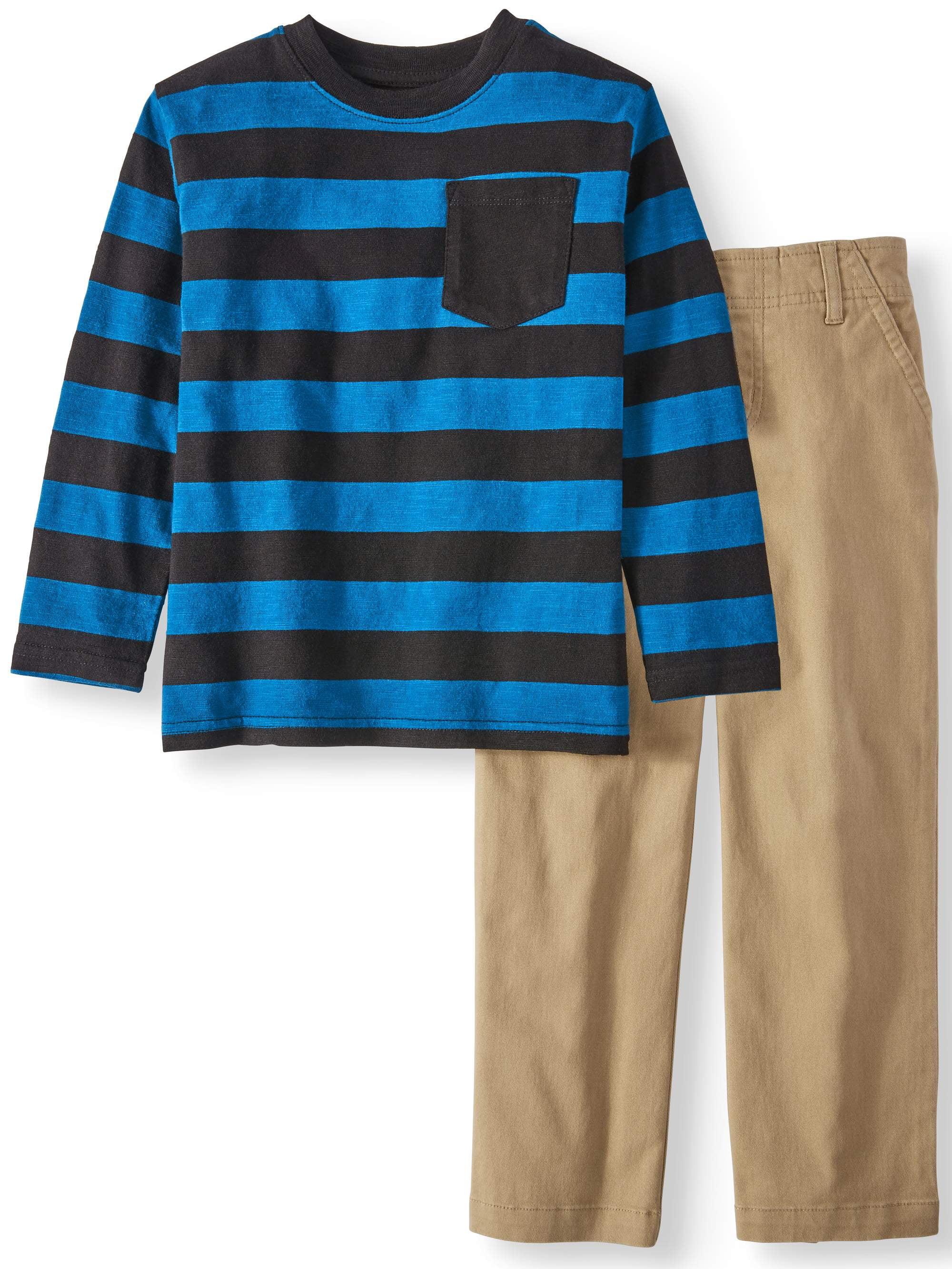 Long Sleeve Striped Pocket T-Shirt & Woven Pants, 2pc Outfit Set (Little Boys & Big Boys)