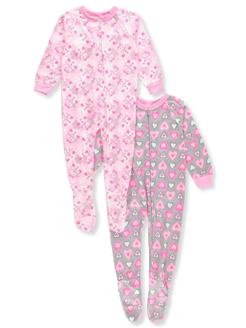 Mon Petit Girls' 2-Pack 1-Piece Footed Pajamas