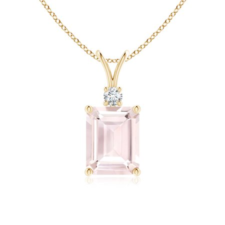 V-Bale Emerald Cut Morganite Solitaire Pendant with Diamond in 14K Yellow Gold (9x7mm Morganite) - SP0810MGD-YG-A-9x7