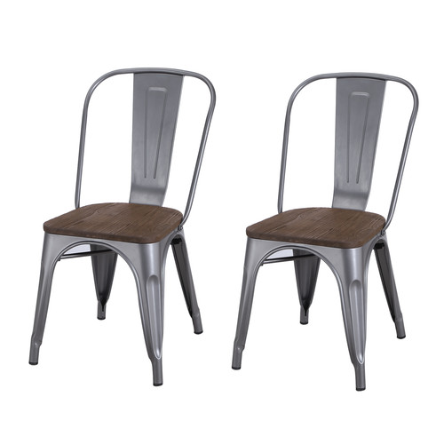 Metal Dining Chairs adeco tolix style matte silver grey metal dining bistro chair