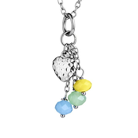 Heart Drop Bead Necklace - Yellow, Mint Green, - Light Blue Beaded Necklace