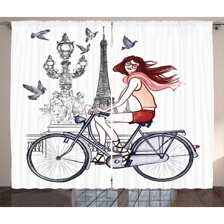 Eiffel Tower Curtains 2 Panels Set, Illustration of a Woman on Alexander III Bridge in Paris Riding a Bike, Window Drapes for Living Room Bedroom, 108W X 90L Inches, Grey Red Peach, by Ambesonne ()