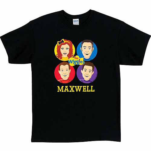 Personalized The Wiggles Fab Four Adult T-Shirt, Black