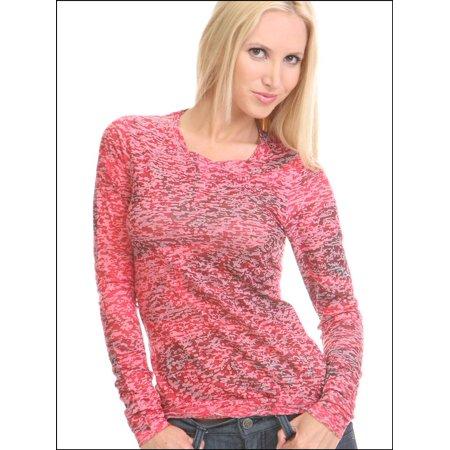 Kavio Junior Girls BurnOut Warped Sublimation Long Slv T-Shirt JCP0027 - Magenta - Small