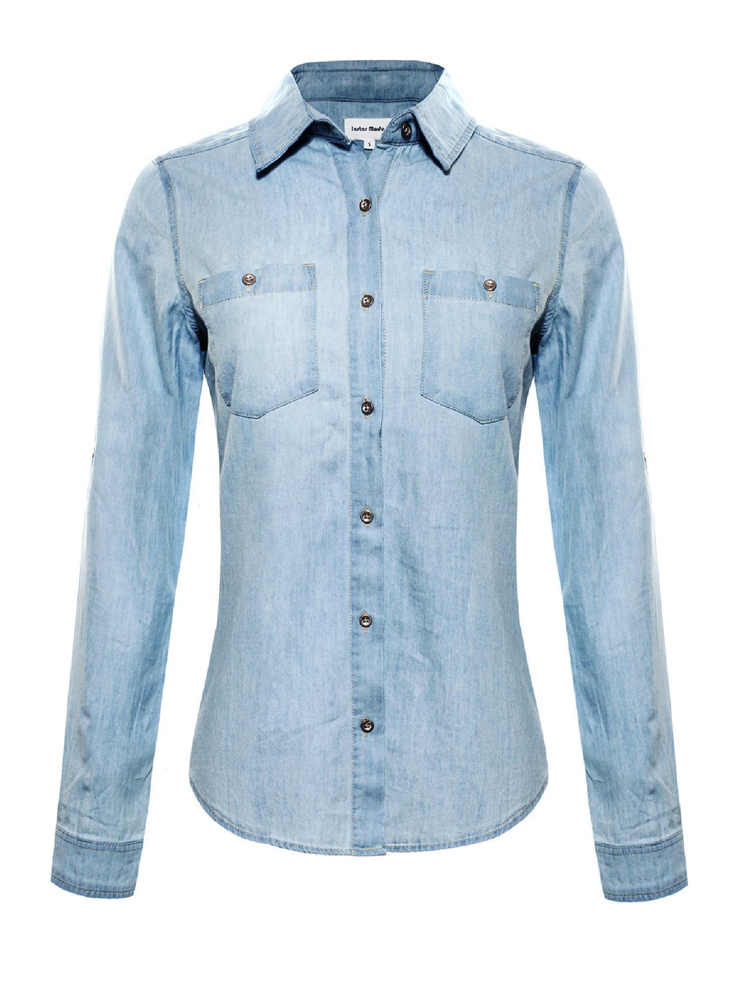 Made by Olivia Women's Basic Classic Roll up Sleeve Button Down Chambray Denim Shirt (S-3XL) Medium Denim L
