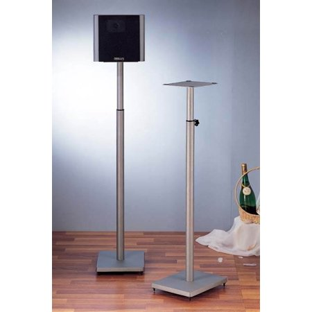 Surround Sound Speaker Stand in Grey Silver – Set of 2