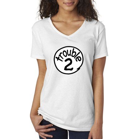 New Way 722 - Women's V-Neck T-Shirt Trouble 2 Two Dr Seuss Thing Parody - Adult Thing 1 And Thing 2 Shirts