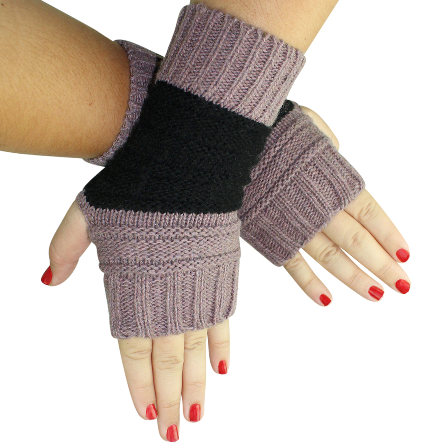 Block Stripe Knit Fingerless Arm Warmer Gloves
