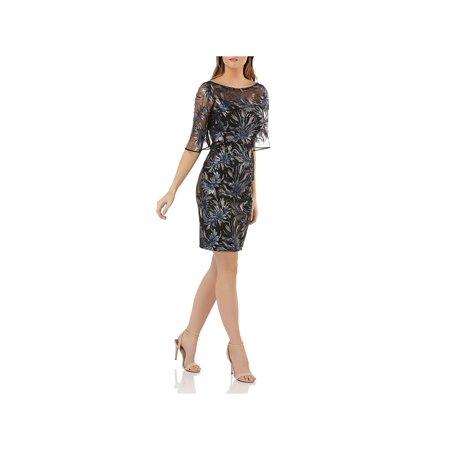 Carmen Marc Valvo Wedding - Carmen Marc Valvo Womens Knee-Length Sequined Cocktail Dress