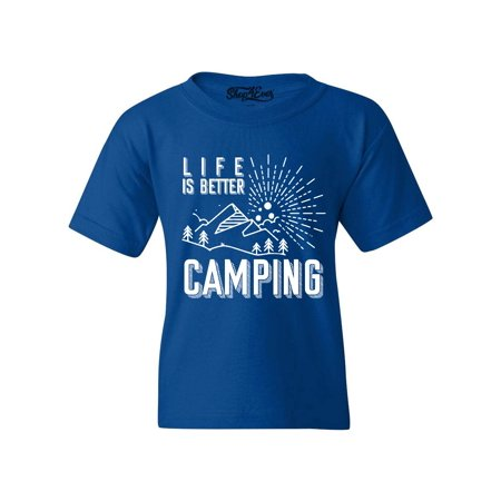 Shop4Ever Youth Life is Better Camping Graphic Youth T-Shirt