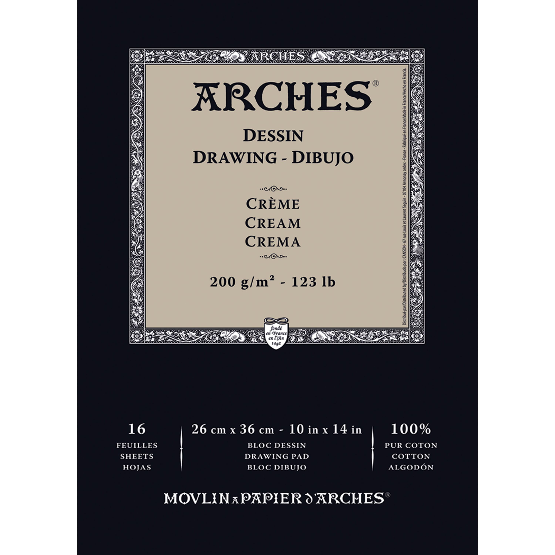 "Arches 123 lb. Cream Drawing Pad, 10"" x 14"""