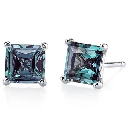 14k White Gold Over Sterling Silver 1 Carat Princess Alexandrite Stud Earrings