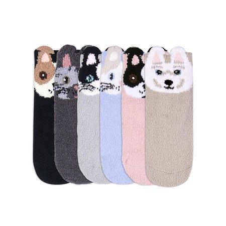 Adorable 6 Pack Animal Face Plush Non-Slip Slipper Socks For Women The North Face Womens Socks