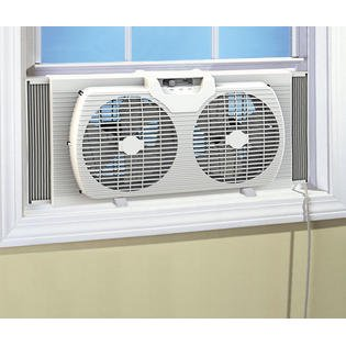 "- Portable Dual Blade 9"" Twin Window Fan with Reversible Airflow, White"
