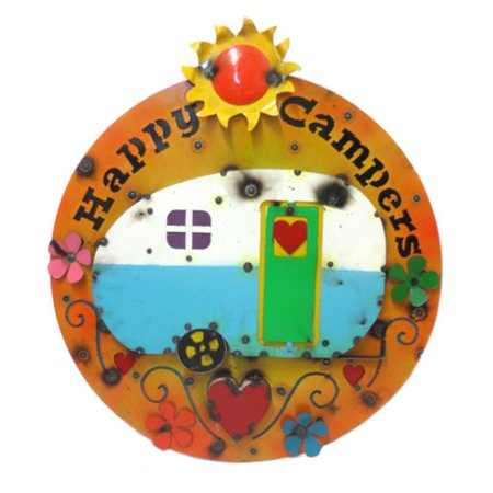 Rustic Arrow Happy Campers With Rv Round Sign Outdoor Wall Art