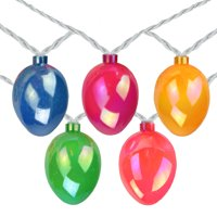 10-Count Pearl Multi-Colored Easter Egg String Light Set, 7.25ft White Wire