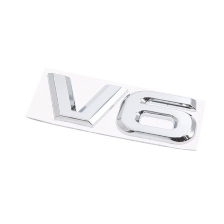 Adhesive Car Badge - Silver Tone Metal V6 Pattern Adhesive Badge Emblem Sticker Decals for Car