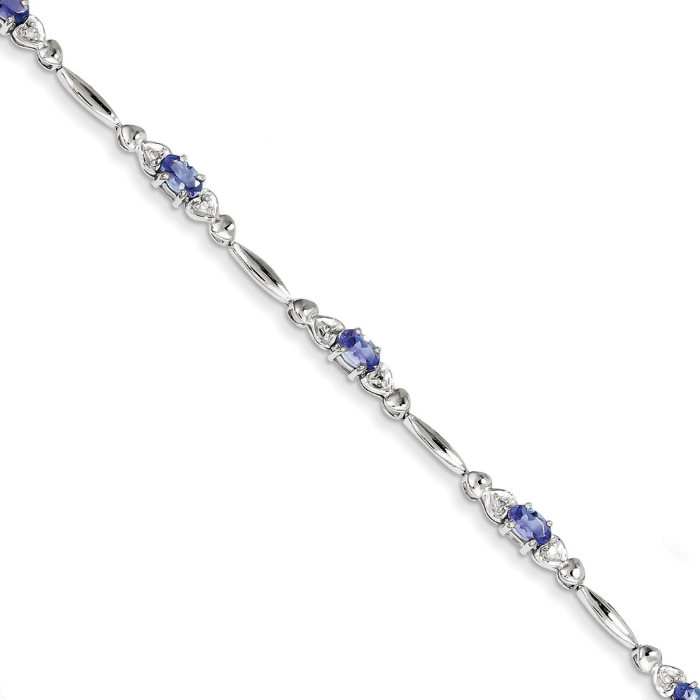 Sterling Silver Tanzanite and Diamond Bracelet .010 dwt 1.09 cwt by