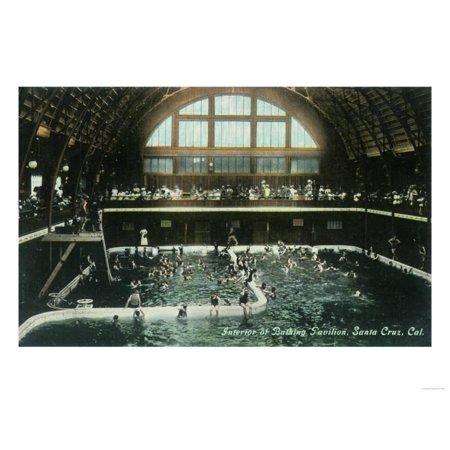 interior view of the bathing pavilion santa cruz ca print by lantern press