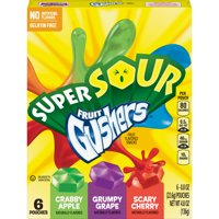 Super Sour Gushers Fruit Flavored Snacks 6 Count, 0.8 OZ