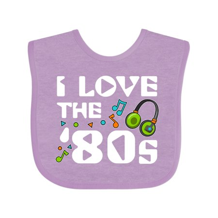 Inktastic I Love the '80s-musical notes Baby Bib Unisex, Lavender