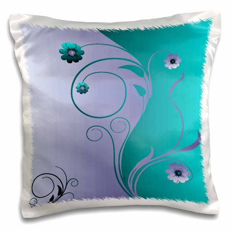 3dRose Delicate Teal and Purple Flowers and Flourishes - Pillow Case, 16 by 16-inch - Teal And Purple