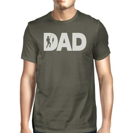 Dad Fish Mens Dark Grey Unique Design T-Shirt Gifts For Fishing Dad ()