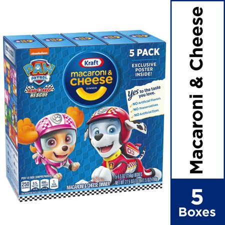 Kraft Paw Patrol Ready Race Rescue Shapes Mac & Cheese Dinner, 5 - 5.5 oz Boxes ()
