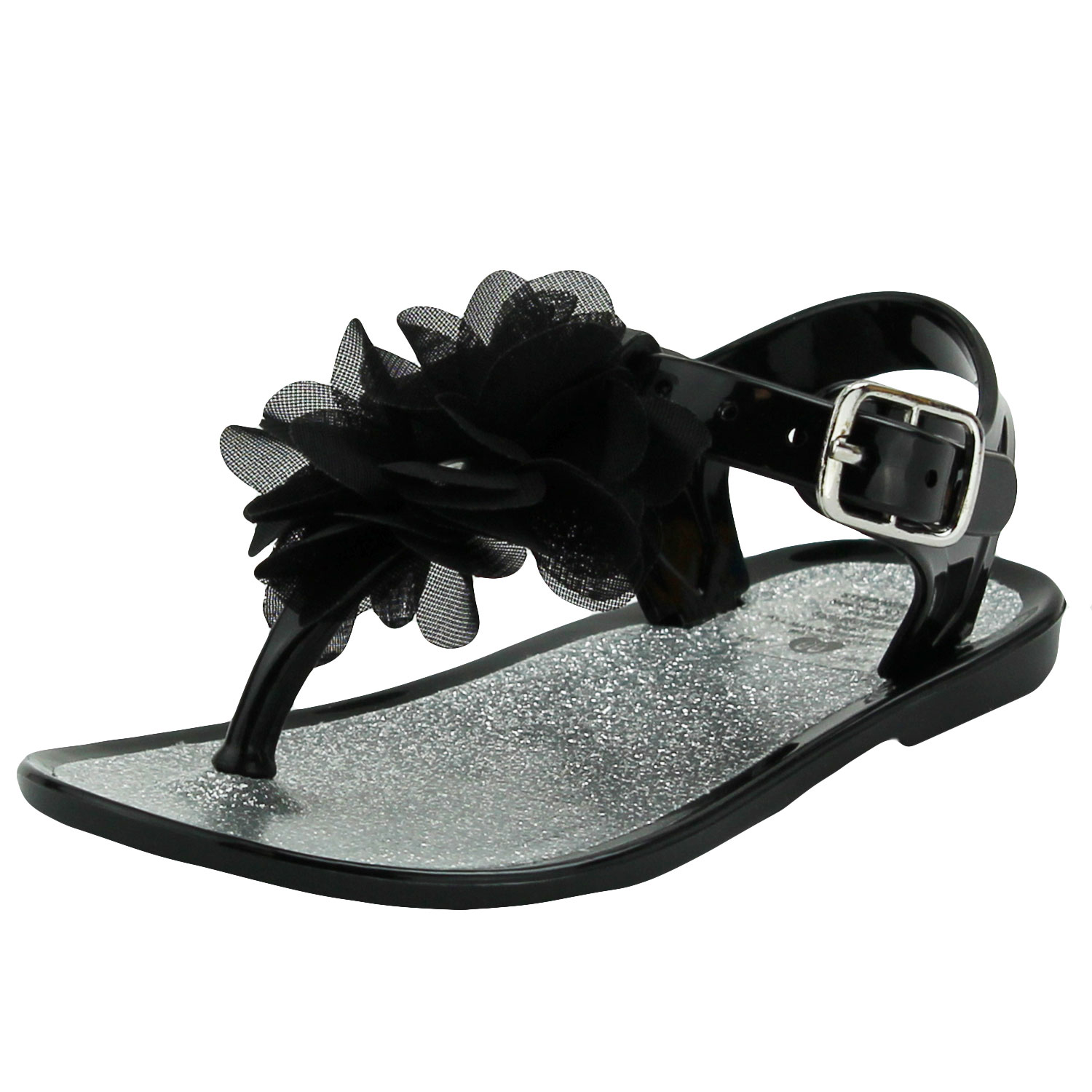 Stepping Stones Baby Girls Black Glitter Flower Thong Sandal / Jelly Sandals with Backs-Size 3 Infant Toddler Flip Flops For Causal or Dress