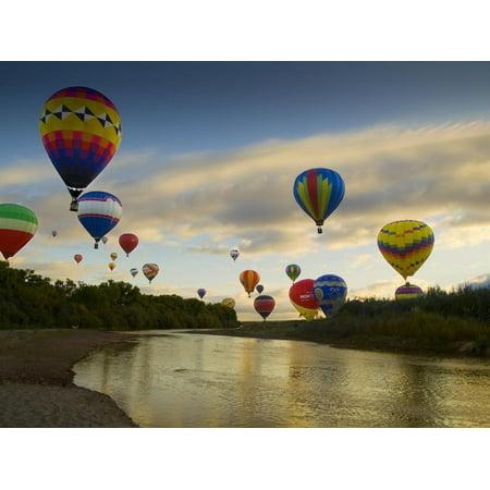 Balloons Soaring About Sandia Mountains and Rio Grande River During Albuquerque Balloon Fiesta Print Wall Art By James Shive