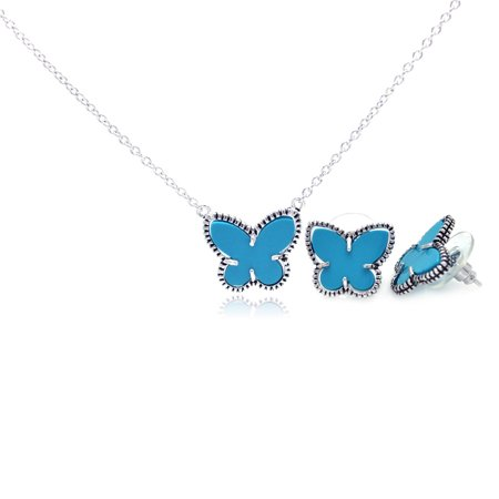 (.925 Sterling Silver Rhodium Plated Turquoise Mini Butterfly Stud Earring &  Necklace Set 18 Inch)