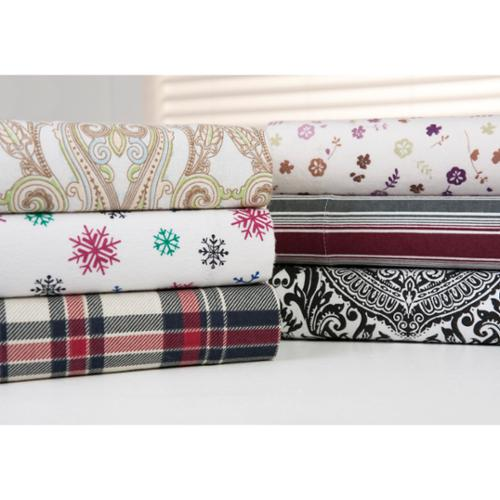 Bibb Home 100-percent Cotton Printed Flannel Sheet Sets Queen, Colorful Snowflakes