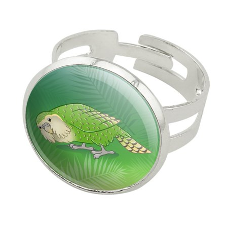 Kakapo the Flightless Owl Parrot Silver Plated Adjustable Novelty Ring
