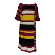 Masseys Plus Sz Dress 3X Bell-Sleeved Striped Sweater Style Burgundy Red