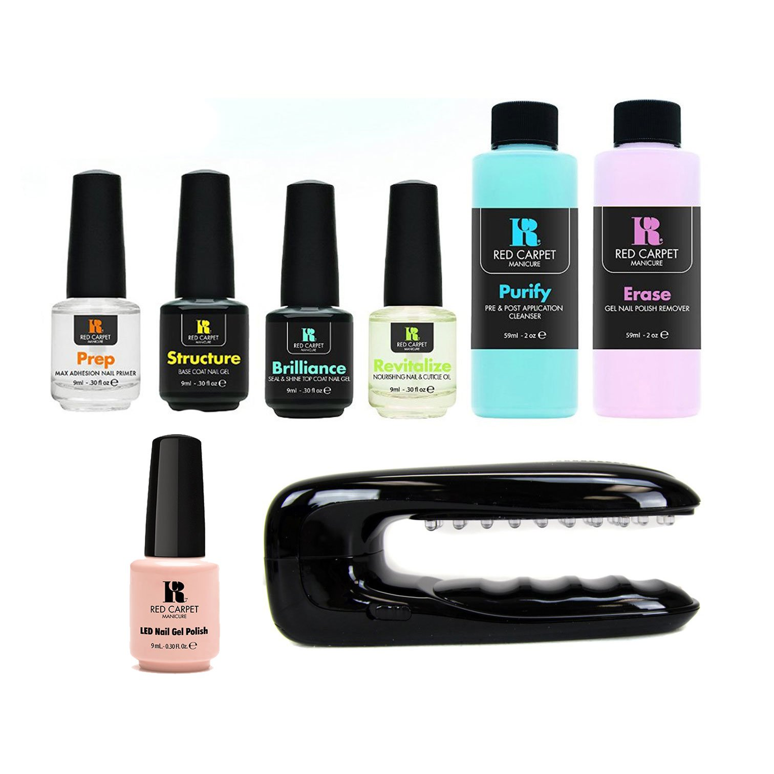 Red Carpet Manicure Portable LED Package Soak Off Gel Nail Polish Starter Kit