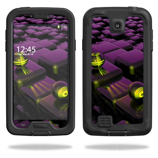 Mightyskins Protective Vinyl Skin Decal Cover for LifeProof Samsung Galaxy S4 Case fre wrap sticker skins Purple Blocks