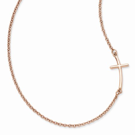 925 Sterling Silver Rose Gold-plated Large Sideways Curved Cross Necklace 18inch