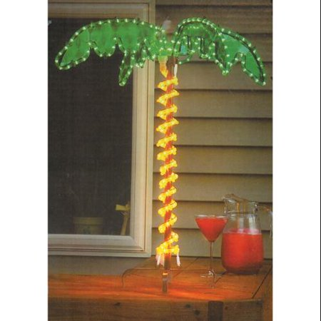 """30"""" Tropical Lighted Holographic Rope Light Outdoor Palm Tre"""