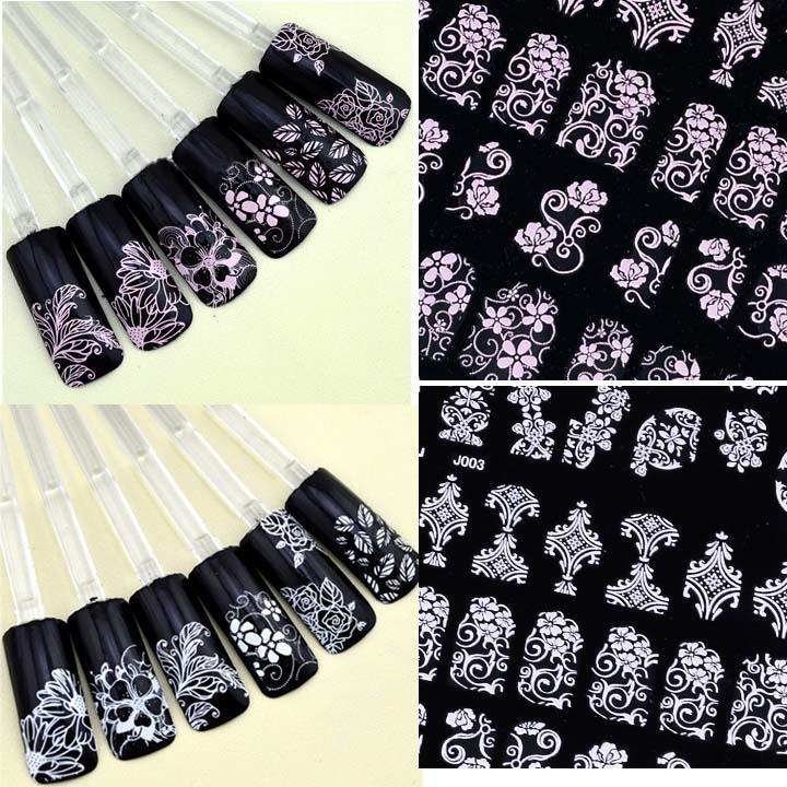 Fingernail Stickers Nail Art Nail Stickers Self-Adhesive Nail Stickers 3D Nail Decals - Flowers  one sheet  108 pcs 2 Colors available