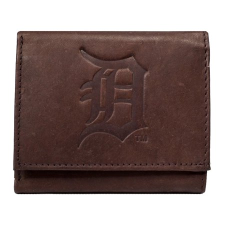 Detroit Tigers Mlb Embossed Logo Dark Brown Leather Trifold Wallet
